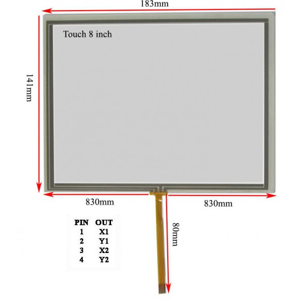 Touch 8 inch وسط فلت تاچ اسکرین 8.0 اینچ (کیفیت خوب)- کویر کامپیوتر
