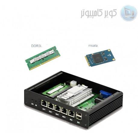 mini کامپیوتر صنعتی 4 هسته ای j1900 با 4 پورت lan و یک پورت com باکس مولتی لن 4port lan مدل kc5003 4 port lan